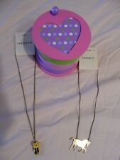 Claire's Small Wooden Jewelry box, W/ 2 new Necklaces