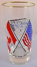 Vintage Niagara Falls Glass Tumbler American Canadian Flag Maple Leaf Old Glory