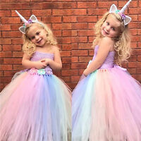 Flower Girl Dress Unicorn Mesh Party Wedding Princess Tulle Age 1-12 Pageant Kid