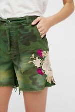New $88 Free People Embroidered Scout Short Camo Floral Boyfriend Fit SZ 2