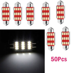 50x 41mm 12SMD 4014 C5W LED Light  Festoon Dome Car License Plate Lamp