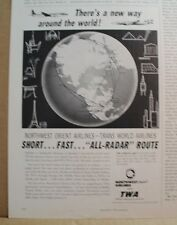1958 NORTHWEST ORIENT AIRLINES TWA GLOBE TAYLOR'S NEW YORK CHAMPAGNE vtg old ads