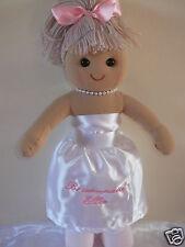 PERSONALISED  BRIDESMAID RAG DOLL FLOWER GIRL GIFT DARK OR BLONDE HAIR