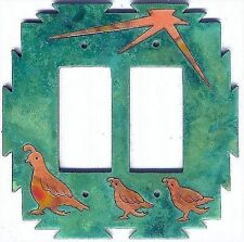 """COPPERCUTTS Quail Family Switch Plate 6"""" x 6"""" Rustic SouthWest Copper & Wood"""