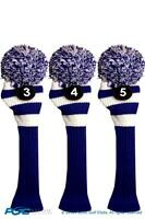 blue hybrid headcover New 3 pc set WHITE 3 4 5 KNIT Rescue golf club Head cover