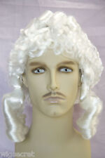 British Judge Sausage Curls and Pigtails Medium Curly Costume Men's Wig