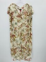 NWT Vince Camuto Ruched Shoulder Floral Sheer Long Tunic Womens Size Medium