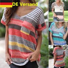 DE Damen V-Ausschnitt Gestreift Locker T-Shirt Tunika Oberteil Tops Hemd Blusen