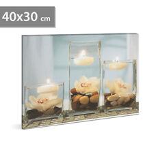 Dekoratives LED Bild Leinwandbild Kerzen Wellness Wandbild Wand Licht Wohnung