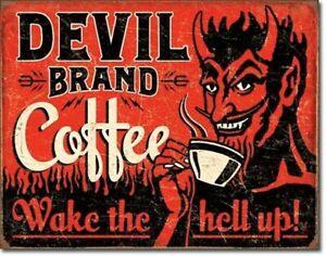Devil Brand Coffee Vintage Rustic Retro Tin  Sign 16 in x 12.5 in