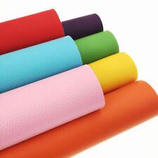 7 Color Set Rainbow Litchi Faux PU Leather Fabric Sheet Sewing Vinyl Pack Bundle