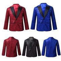 Kids Boys Sequins Tuxedo Blazer Jacket Party Banquet Wedding Coat Suits Costumes