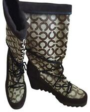 COACH BROWN SIGNATURE COLLECTION mid calf boots. Sz 7. Worn twice!