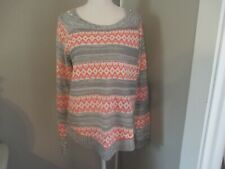 Red Camel Size Large Women's Pink & Gray Block Sweater