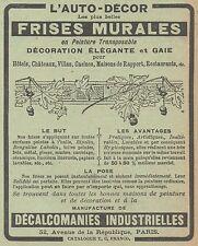 Z8318 L'Auto-Décor - FRISES MURALES - Pubblicità d'epoca - 1914 Old advertising