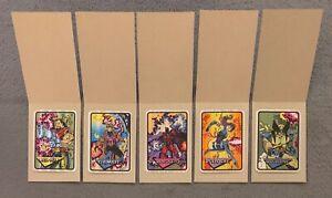 1993 Marvel Universe Unauthorized Vending Foil Prism Sticker Card Set of 5 Mint!