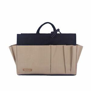 NEW Myliora Original Waterproof Sturdy Purse Bag Insert Organizer - Black Beige