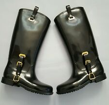 RALPH LAUREN LITTLE KID BLACK RUBBER RAIN BOOTS GIRL SIZE USA 4 UK 3.5 EUR 35