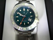 Nautis Global Dive GMT Orologio Aqua Verde Quadrante 46 mm 18093G-A Argento Sterling Braccialetto RP $325