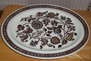 Vintage Ridgway Oval Jacobean Staffordshire Brown & White Ironstone  Server VGC