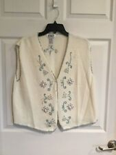 Korea women's large button Down sweater ivory beads & embroidery sleeveless