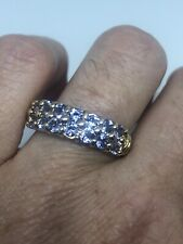 925 Sterling Silver Size 8 Vintage Blue Tanzanite Deco Ring Gold