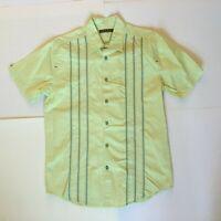 Cubavera Mens M Lime Green Embroidered Stripe Button Up Shirt SS Cotton EUC