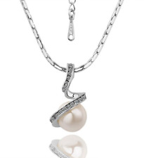 18K White Gold GP Crystal Pearl Dangle Drop Pendant Necklace N46