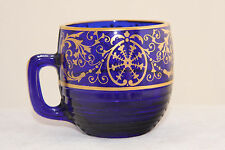 CAMBRIDGE GLASS ROYAL BLUE TALLY-HO # 1402/37 GOLD DECORATED WHISKEY SHOT GLASS