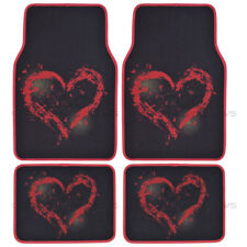 Brushed Love Heart - Front and Rear Carpet Mats Car Auto Van SUVs Trucks (4 PC)