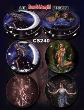 Renee Biertempfel Fairy Faery Set of 4 Coasters Tin Box Moon Stars Green Wtich +