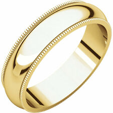 5mm 18K Solid Yellow Gold Milgrain Half Round Comfort Fit Wedding Band Size 10