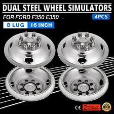 "4 PCS 16"" Dual Steel Wheel Simulators For FORD RV Hub Caps Skins Stainless Steel"
