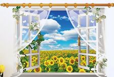 3D large sunflower field sky window view adhesive removable Wall decal sticker