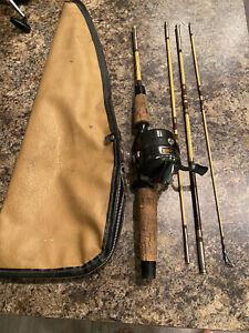 Vintage Zebco Centennial 4 Piece Rod  Zebco 600 Fishing Reel Combo With Case