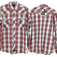 Panhandle Slim Men's Red Plaid Embroidered Cross Pearl Snap Western Shirt Large