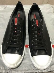Authentic PRADA 'Lace Up' Black Cap Toe Leather Sneakers Size US 11