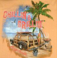 NEW Margaritaville CHILLIN  GRILLIN Mens T-Shirt 100% Cotton Orange Grill Chill