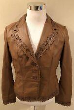 Rare Wilson's Women Beige Genuine leather Perforated Design Blazer Jacket Size L
