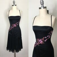 Vintage 90s Betsey Johnson Silk Embroidered Dress Size Small