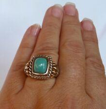 14K / 925 BJC Samuel B Turquoise Ring Rare Vintage 10x8 Robin's Egg Size 8