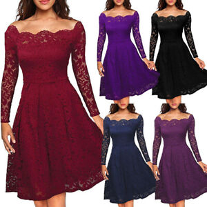Elegant Women Lady Lace Swing Plush Dress Party Evening Prom Long Sleeve Dress
