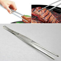 Silver Stainless Steel Extra Long Food Tongs Straight Tweezers Point Tip 1 Pcs