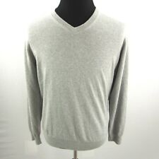 LL Bean V Neck Pullover Sweater Mens Large Gray Cotton Cashmere