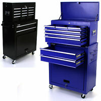 TOOL CHEST 2 IN 1 TOOLBOX ROLLER HEAVY DUTY STEEL CABINET STORAGE UNIT 8 DRAWERS
