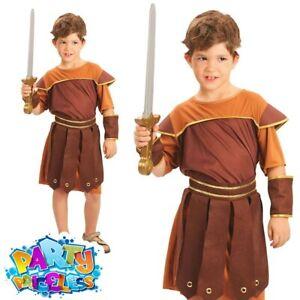 Child Roman Soldier Costume Boy Gladiator Warrior Book Week Day Fancy Dress Kids