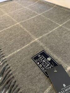 Balmoral Grey White Block Check Rug Blanket Scottish Tartan Large Throw Travel