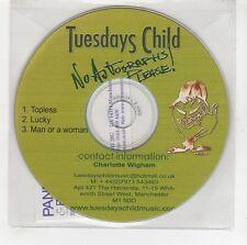 (GG651) Tuesdays Child, Topless / Lucky / Man Or A Woman - DJ CD