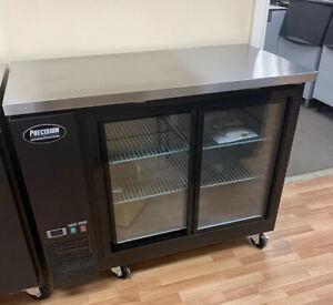 """48"""" Back Bar Refrigerator Sliding Doors Beer 2 Door Glass 4' Cooler New Bottle"""