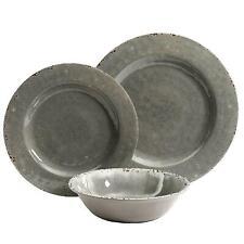 Mauna 12-Piece Casual Gray Melamine Outdoor Dinnerware Set Service for 4 Durable